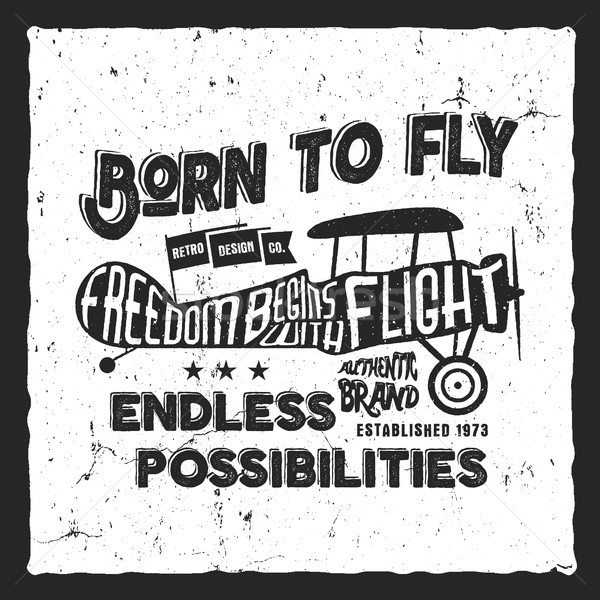 Vintage airplane lettering for printing. Vector prints, old school aircraft poster. Retro air show t Stock photo © JeksonGraphics