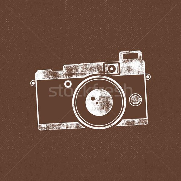 Retro cámara icono edad anunciante plantilla Foto stock © JeksonGraphics
