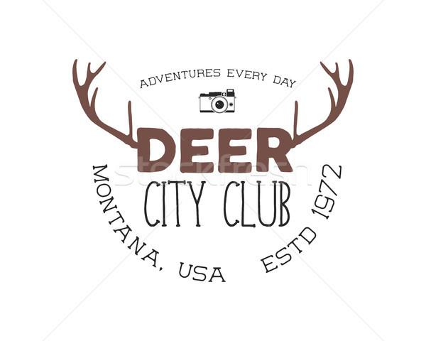 Dibujado a mano ciervos vintage placa ciudad club Foto stock © JeksonGraphics
