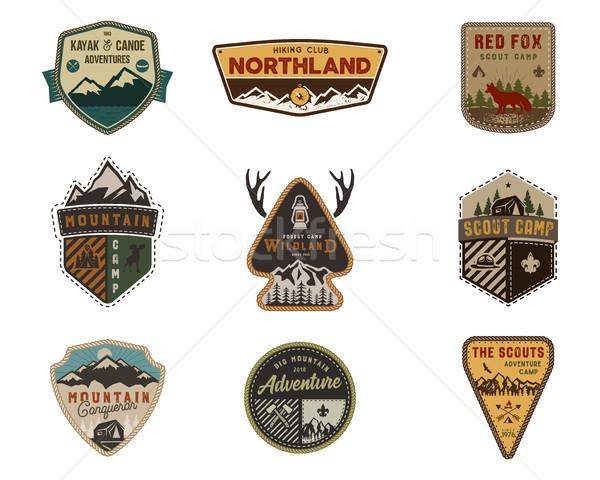 Stockfoto: Outdoor · badge · collectie · verkenner · kamp