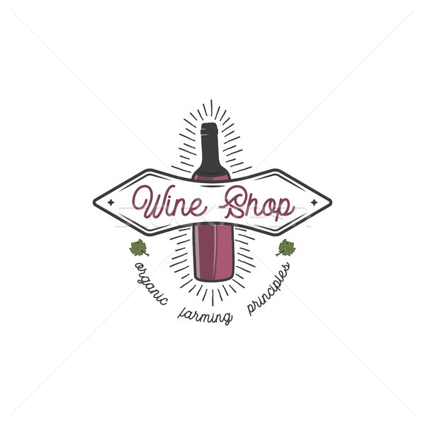 Wine shop logo template concept. Wine bottle, leaf, sunbursts and typography design. Stock vector em Stock photo © JeksonGraphics