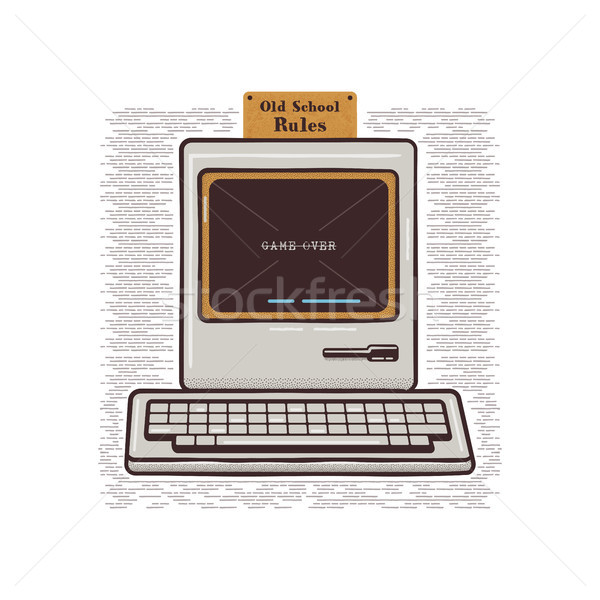 Vintage Hand Drawn Personal Computer With Keyboard. Old classic pc with sign - Old School Rules. Ret Stock photo © JeksonGraphics