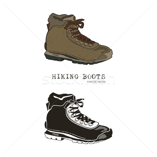 Vintage hand drawn travel boots in retro color and monochrome style. Hiking footwear label, grunge t Stock photo © JeksonGraphics
