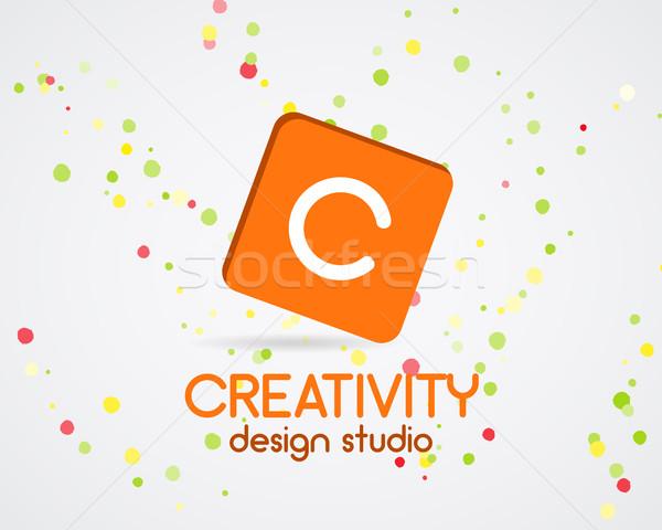 Vector abstract logo design. Creativity studio. Creative logo icon. Abstract logotype template. Roun Stock photo © JeksonGraphics