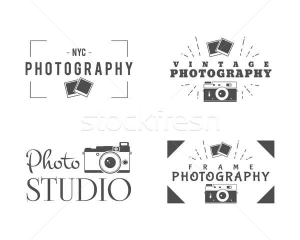 Retro Photography Badges, Labels. Monochrome design with stylish old cameras and elements. Vintage s Stock photo © JeksonGraphics