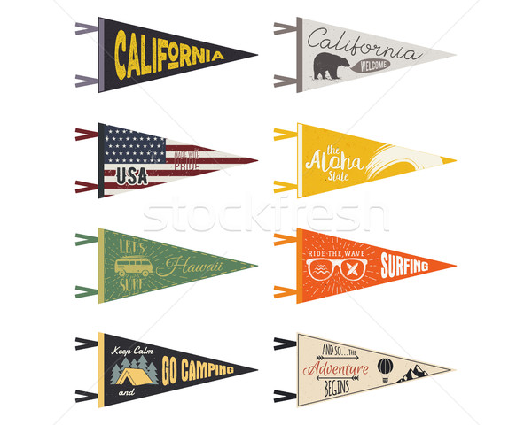 Set of adventure pennants. Vector Pennant explore flags design. Vintage surf, caravan, rv templates. Stock photo © JeksonGraphics