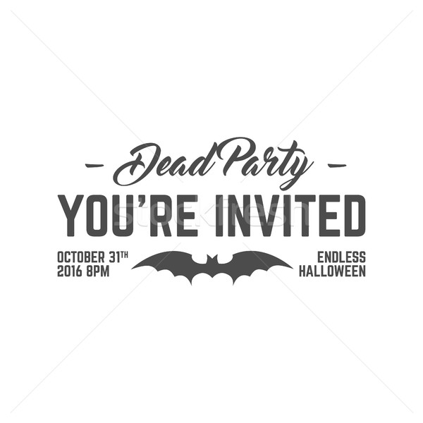 Happy Halloween 2016 dead party invitation label. Typography insignia for celebration holiday. Retro Stock photo © JeksonGraphics