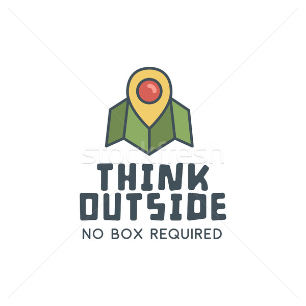 Hiking trail logo design with typography and travel elements - map, pin. Vector text - think outside Stock photo © JeksonGraphics