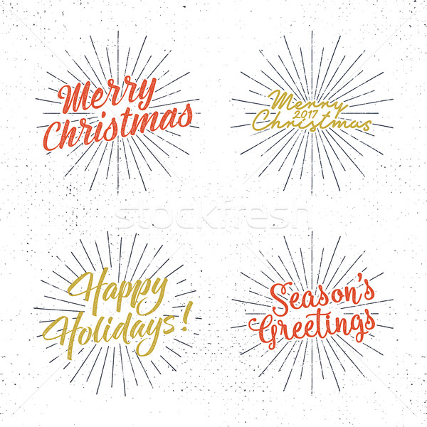 Stock photo: Set of Christmas lettering, wishes and vintage labels. Season's greetings calligraphy. Holiday typog