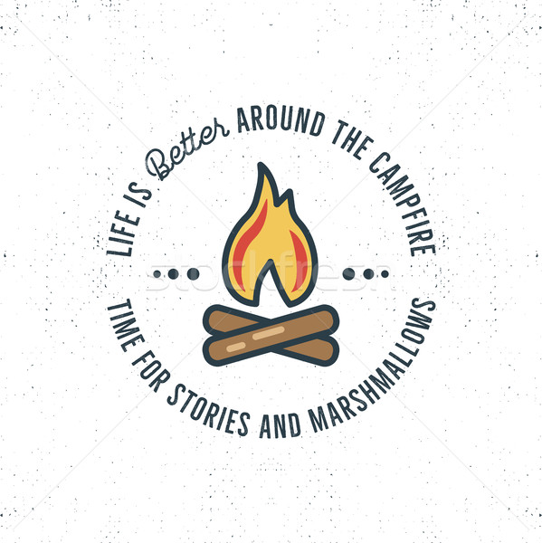Camping logo design with typography and travel elements - bonfire. Vector text - life is better arou Stock photo © JeksonGraphics