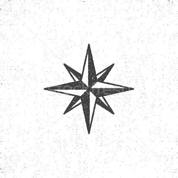 Vintage wind rose symbol or icon in rough silhouette nautical style, monochrome design. Can be used  Stock photo © JeksonGraphics