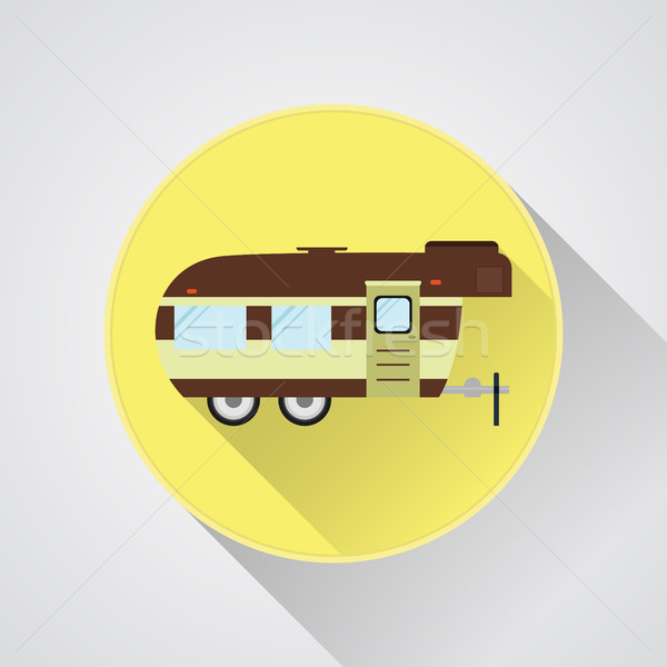 RV camping icon logo and badge. Caravan button in flat design with long shadow. Motorhome lifestyle. Stock photo © JeksonGraphics