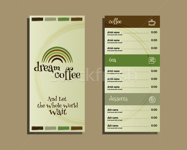 Restaurant and cafe menu. Flat design. With dream coffee logo template and coffee stains. Vector Stock photo © JeksonGraphics