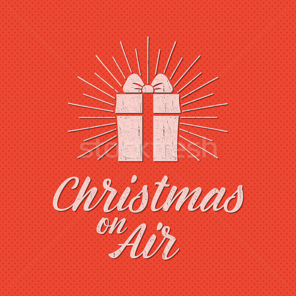 Merry Christmas lettering. Holiday typography . Letters composition with sun bursts and halftone tex Stock photo © JeksonGraphics