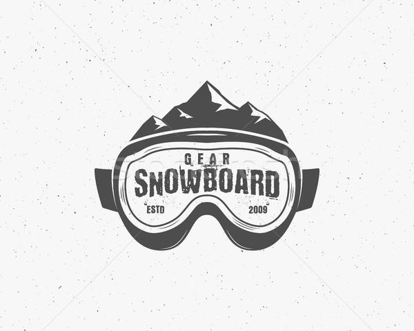 Stok fotoğraf: Snowboard · gözlük · aşırı · logo · etiket · şablon