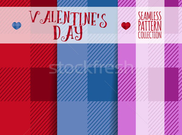 Set of vector Valentines day pattern paper for scrapbook. Lumberjack Plaid and hipster Seamless desi Stock photo © JeksonGraphics