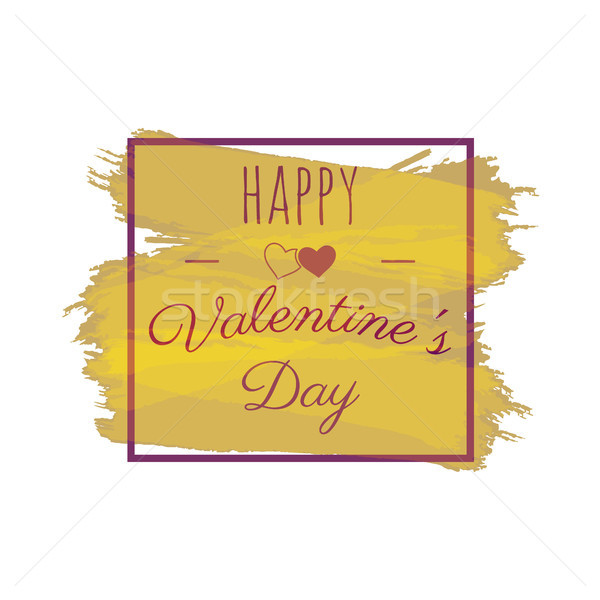 Happy Valentines Day greeting vector lettering. Typography photo overlay, hand drawn text label. Iso Stock photo © JeksonGraphics