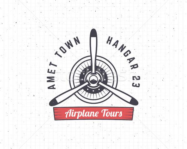 Airplane emblem. Biplane label. Retro Plane propeller badge, design elements. Vintage prints for t s Stock photo © JeksonGraphics