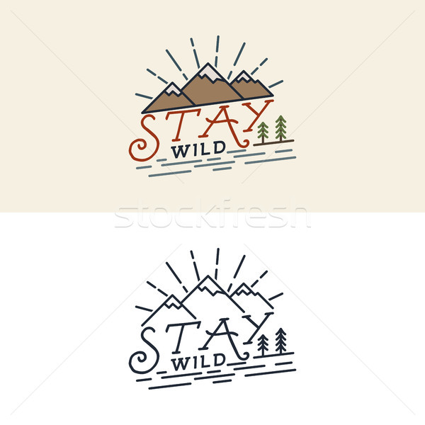 Stay Wild Camping Child Old school Hand Drawn t Shirt Print Apparel Graphics. Retro Typographic Cust Stock photo © JeksonGraphics