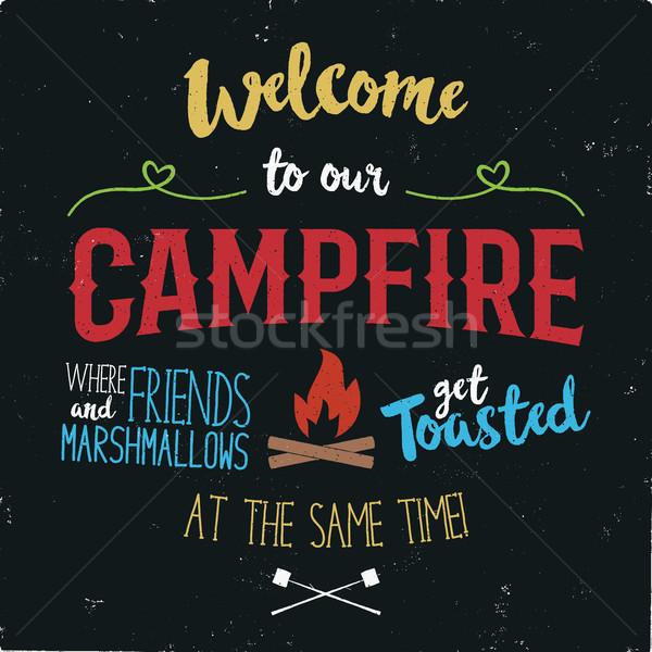 Vintage tipografia cartaz ilustração bem-vindo fogueira Foto stock © JeksonGraphics