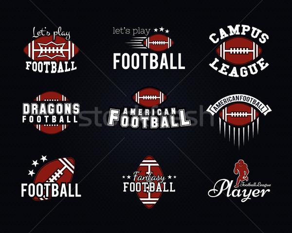 Stock fotó: Amerikai · futball · csapat · főiskola · jelvények · logók