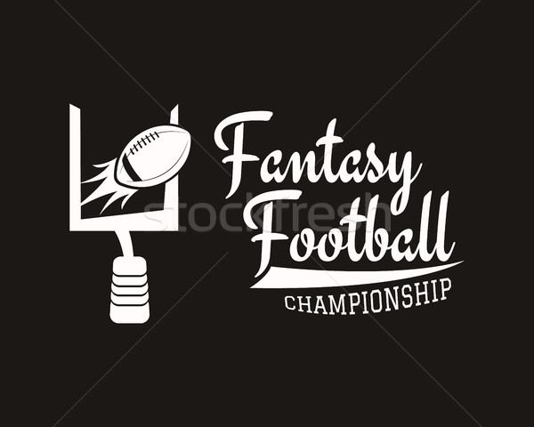 Stock photo: American football field and goal team badge, sport logo, label, insignia set in retro color style. G