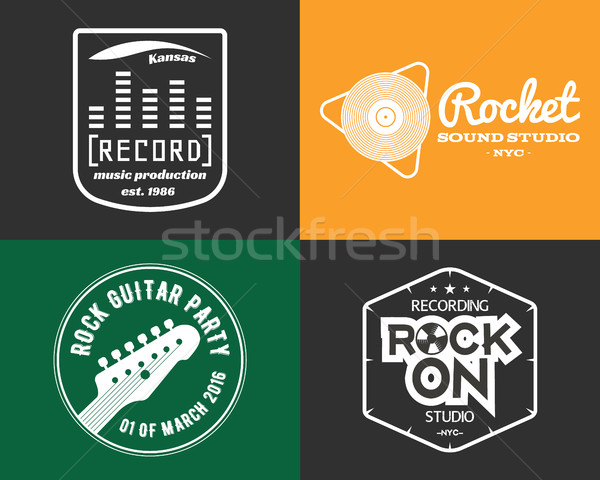 Musica produzione studio logos set musicale Foto d'archivio © JeksonGraphics