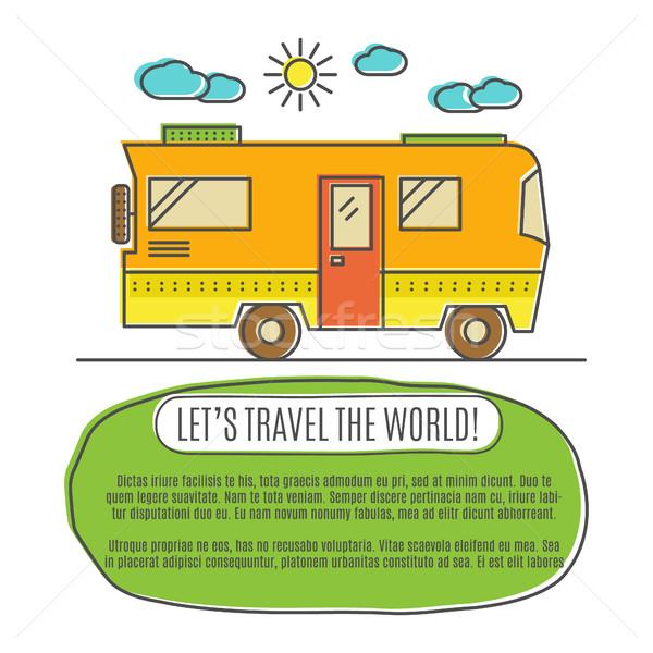 Thin line flat travelling concept. Design of camper rv car . Modern thin line travel vector illustra Stock photo © JeksonGraphics