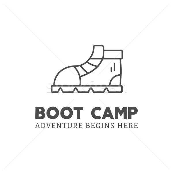 Camping adventure logo design with boot and typography elements. Vector text - boot camp. Backpackin Stock photo © JeksonGraphics