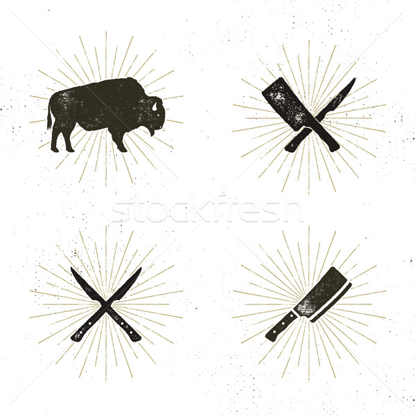 Stockfoto: Ingesteld · biefstuk · huis · slager · vlees · tools