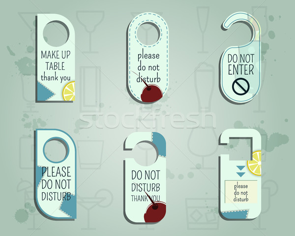 Brand identity elements- Door knob or hanger sign set- do not disturb design. Summer cocktail party  Stock photo © JeksonGraphics