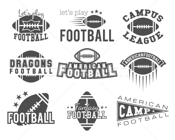 College rugby and american football team badges, logos, labels, insignias in retro style. Graphic vi Stock photo © JeksonGraphics