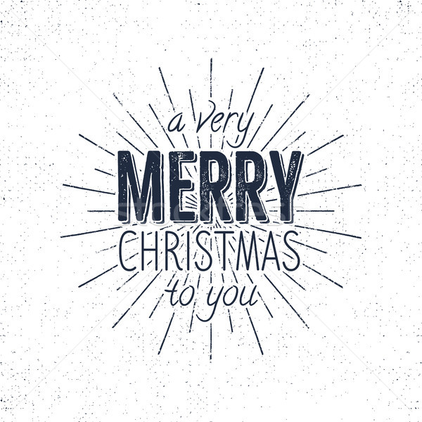 Merry Christmas to you lettering, holiday wish, saying and vintage label. Season's greetings calligr Stock photo © JeksonGraphics