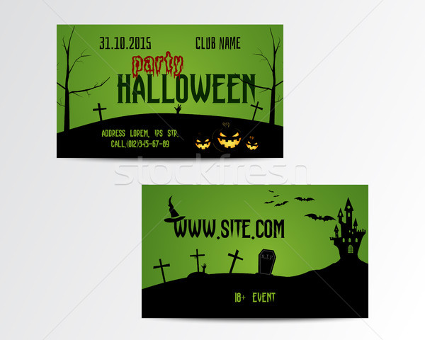 Happy Halloween Greeting Card. Vector Illustration. Party Invitation Design with Emblem and website. Stock photo © JeksonGraphics