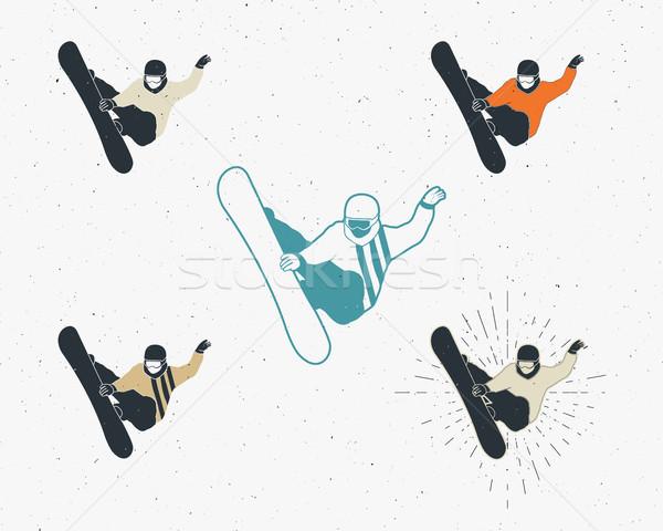 Snowboard icônes vintage montagne explorateur Photo stock © JeksonGraphics