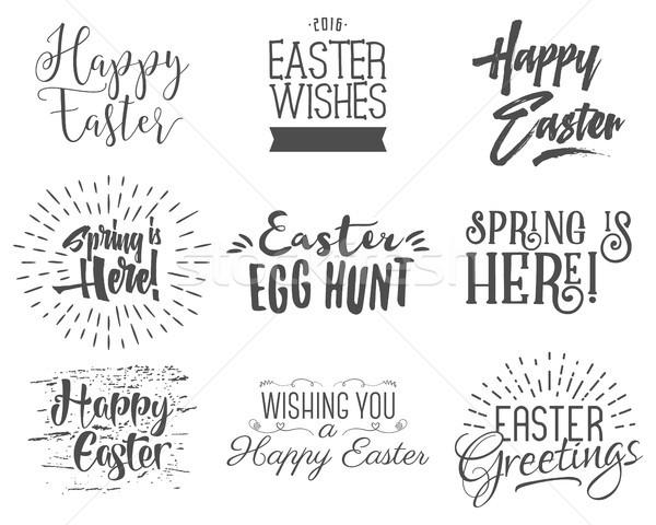 Easter wishes overlays, lettering labels design set. Retro holiday easter badges. Handdrawn emblem w Stock photo © JeksonGraphics