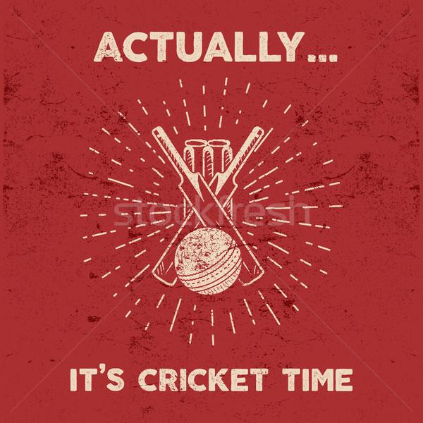 Retro cricket club emblem design. Cricket logo icon design. Cricket badge. Sports logo symbols with  Stock photo © JeksonGraphics