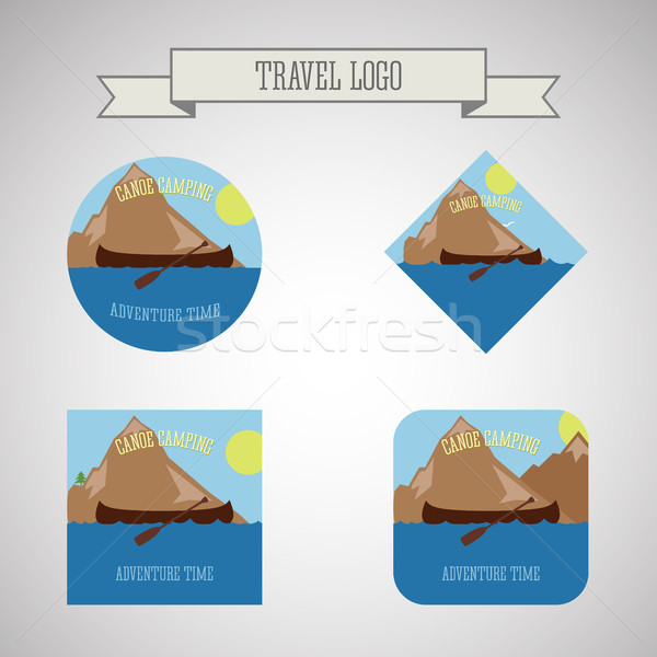 Set of Kayaking and canoe camp logo. Expedition label and sticker. Unusual design. Summer outdoor ad Stock photo © JeksonGraphics