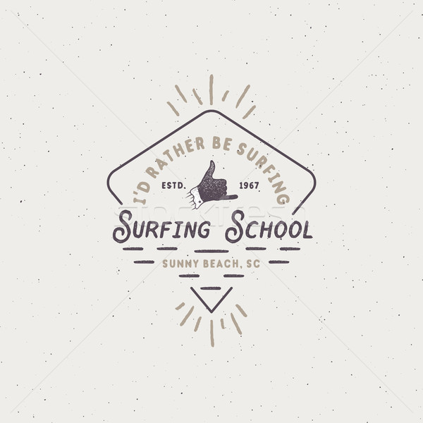 Surf school emblem in unique retro style. Best for summer t-shirts, travel mugs, clothing, apparel.  Stock photo © JeksonGraphics