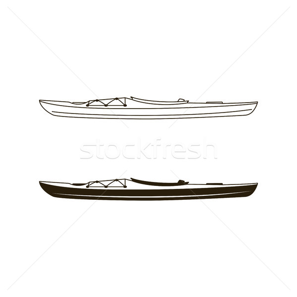 Kayak canoe icons in flat filled and line art style. Linear and silhouette styles pictograms. Stock  Stock photo © JeksonGraphics