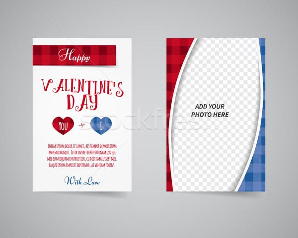 Saint valentin affiche brochure design coeurs lieu Photo stock © JeksonGraphics