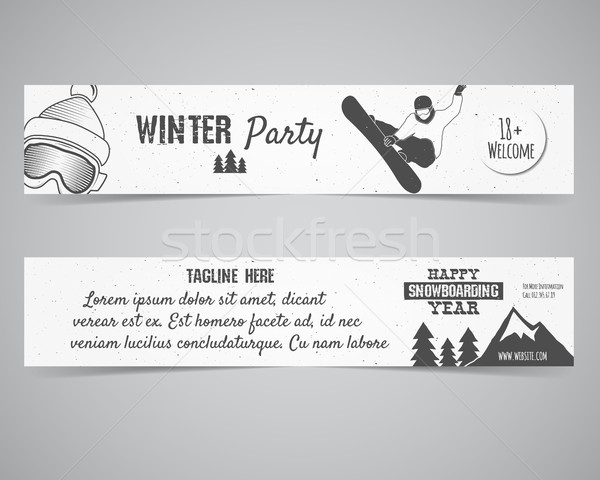 Holiday Identity templates. Christmas banner, flyer design with xmas symbols - tree, snow. Winter pa Stock photo © JeksonGraphics