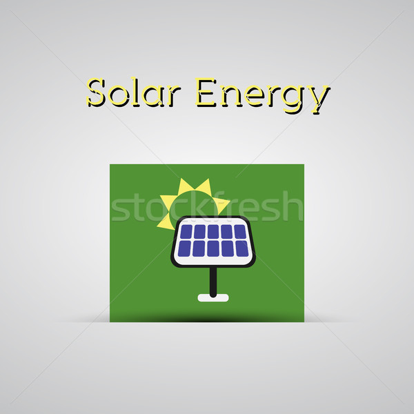 Green ecology energy planet vector concept with solar panel on green card for poster, background, te Stock photo © JeksonGraphics