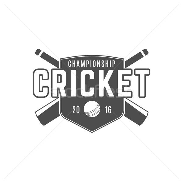 Kriket takım amblem dizayn elemanları şampiyonluk Stok fotoğraf © JeksonGraphics