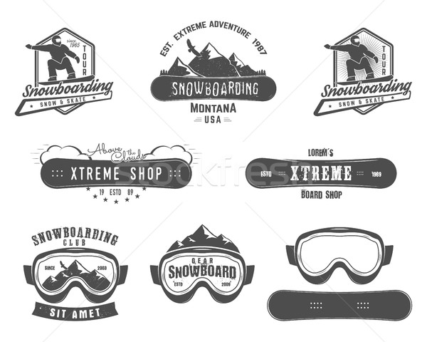 Set of Snowboarding extreme logo and label templates. Winter snowboard sport store badge. Emblem and Stock photo © JeksonGraphics