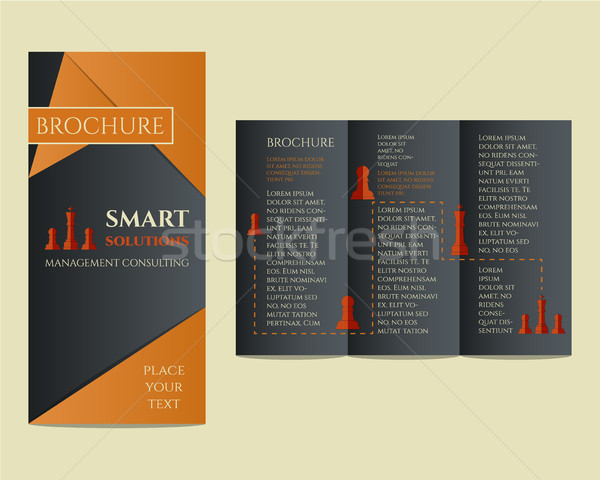 Business Brochure and flyer design template in polygonal style concerning to management, finance, co Stock photo © JeksonGraphics