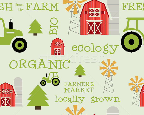 Eco and organic seamless pattern. Farmer s market design. For organic products, shop, web sites, mob Stock photo © JeksonGraphics