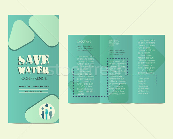 Save water conference flyer invitation template with drops and hands logo template. Unusual concept. Stock photo © JeksonGraphics