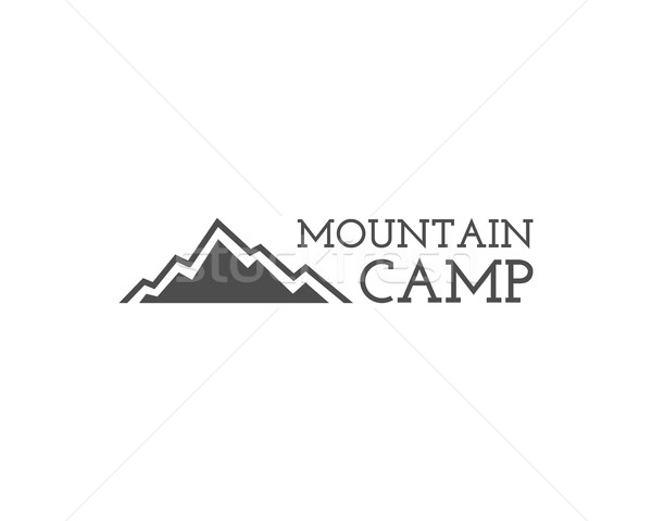 Vintage mountain camping badge, outdoor logo, emblem and label. Hiking, climbing concept, monochrome Stock photo © JeksonGraphics