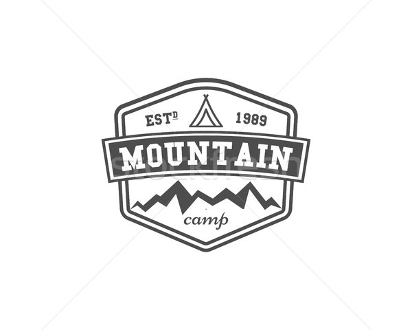 Retro mountain camping badge, outdoor logo, emblem and label. Climbing concept, monochrome design. E Stock photo © JeksonGraphics